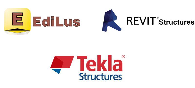 A imagem mostra os logotipos dos principais softwares de simulacao BIM para calculo estrutural