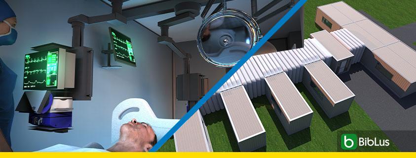 A imagem mostra o render de um hospital de campanha realizado com o BIM face a pandemia