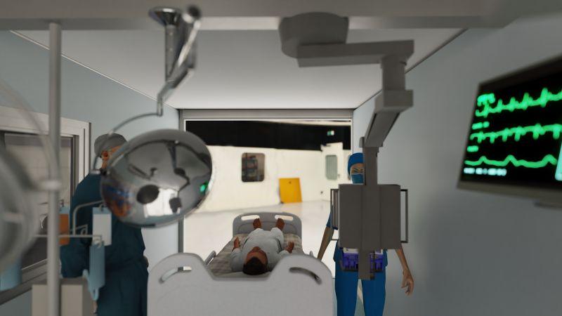 A imagem mostra um render realizado com Edificius de enfermeiros dentro de um hospital de campanha