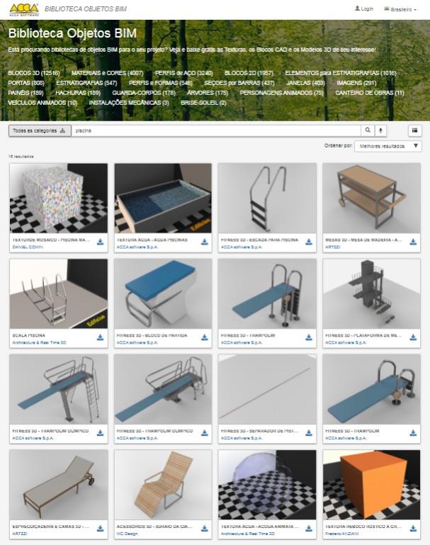 """A imagem mostra os resultados referentes ao objeto """"piscina"""" na Biblioteca Objetos BIM da ACCA software"""