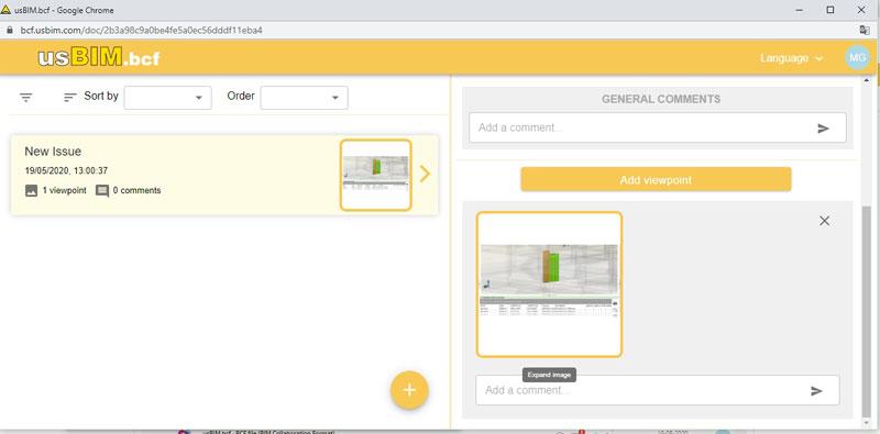 A imagem ilustra o carregamento de uma vista do modelo no formato PNG com usBIM.bcf