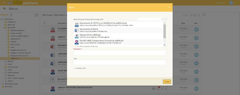 A imagem ilustra a criacao de um novo arquivo BCF com usBIM.platform