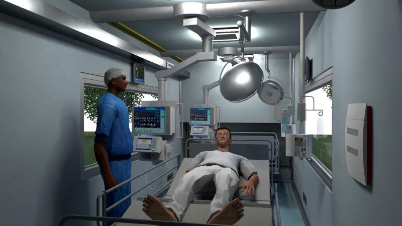 A imagem e um render que mostra a disposicao interna do conteiner com todos os equipamentos necessarios para enfrentar a emergencia de saude