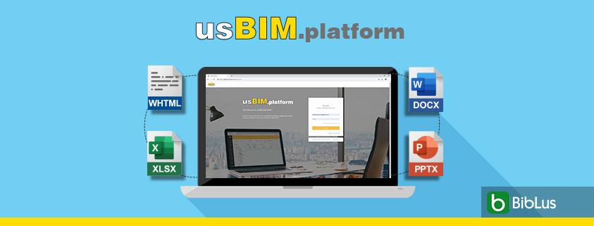 A imagem mostra a homepage de usBIM.platform