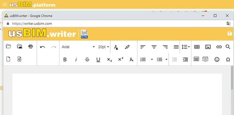 A imagem mostra a interface usBIM.writer