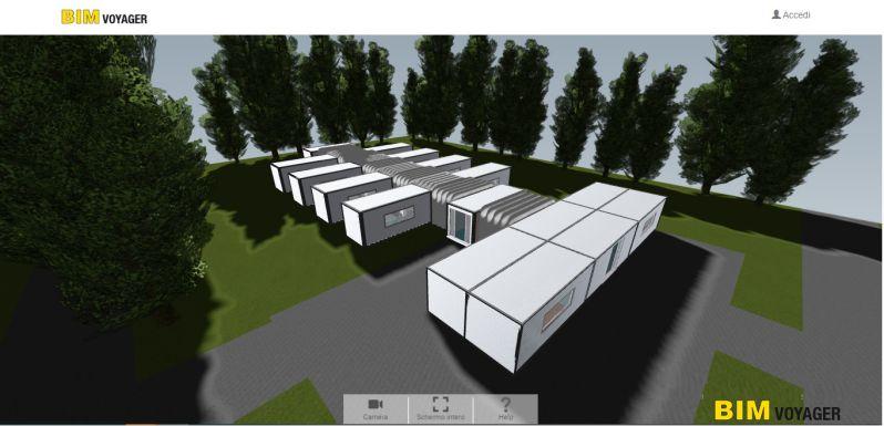 A imagem mostra um render de hospital de campanha dentro do BIM VOYAGER