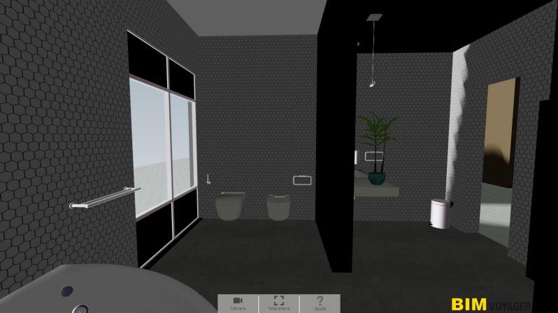 A imagem mostra como navegar dentro um banheiro com BIM VOYAGER