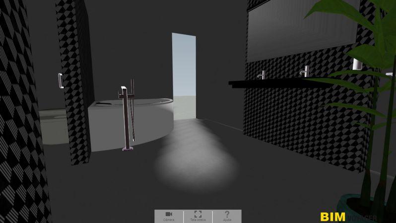 A imagem mostra como navegar em um showroom virtual de banheiro com BIM VOYAGER