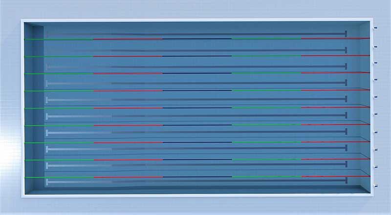 A imagem mostra o render de uma piscina olimpica realizado com Edificius