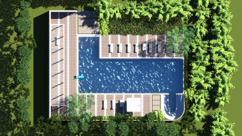 A imagem mostra o render de uma piscina para relaxamento (vista de cima) realizado com Edificius