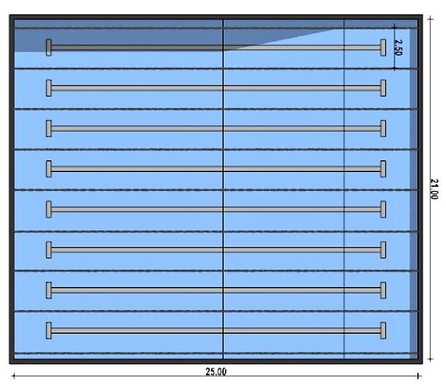 A imagem mostra a planta de uma piscina semi-olimpica
