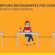 A imagem mostra as mesas de um restaurante na reabertura pos COVID-19