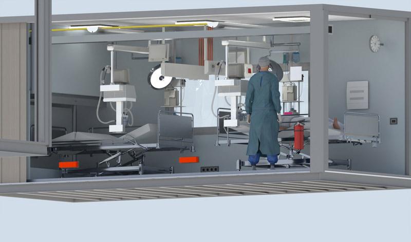 A imagem mostra o render de um conteiner para hospital de campanha em situacao de emergencia