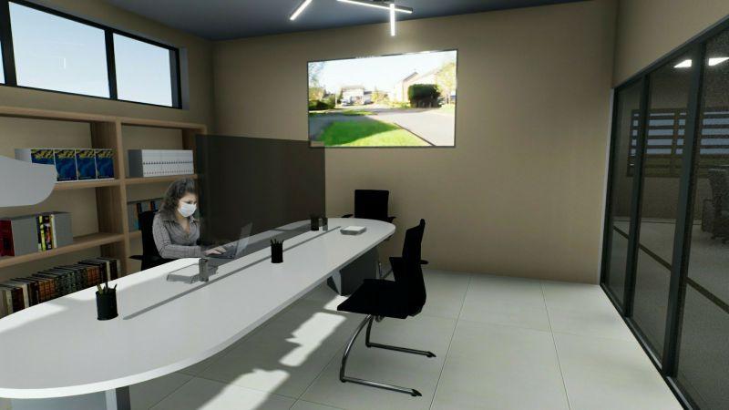 A imagem mostra um render da reorganizacao da sala para reunioes