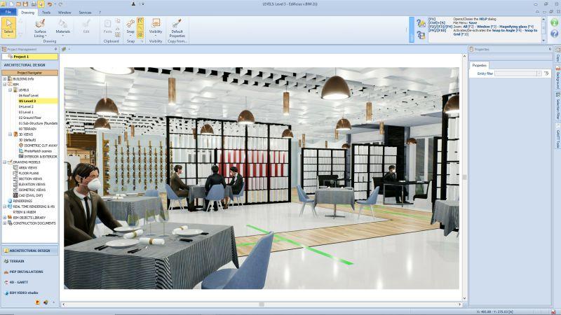 A imagem mostra um render da sala de jantar de um restaurante realizado com Edificius