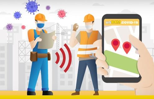A imagem mostra dois trabalhadores com equipamento de protecao individual utilizando a plataforma usBIM.platform