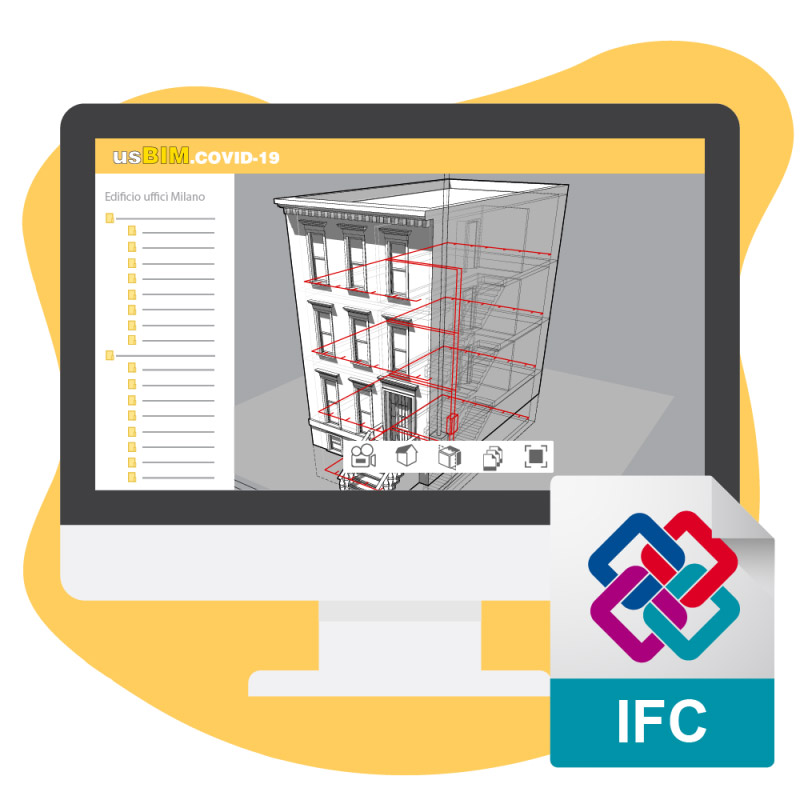 A imagem mostra um desenho da plataforma usBIM.covid-19 da ACCA software com certificao IFC pela buildingSMART