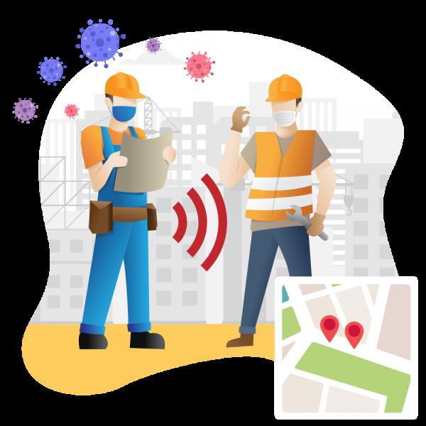 A imagem mostra dois trabalhadores em um canteiro de obras com equipamentos de protecao individuais lendo um mapa no Google Maps
