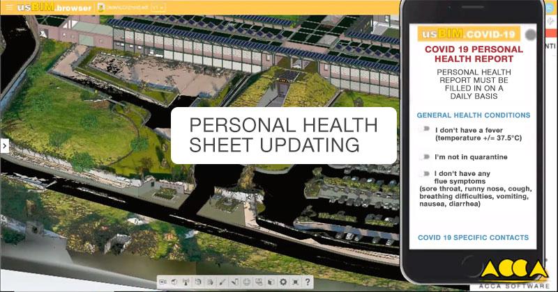 A imagem mostra o diário de saúde cotidiano do trabalhador por meio da plataforma usBIM.COVID-19