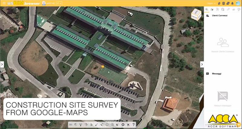 A imagem mostra um modelo do canteiro de obras com levantamento realizado pelo Google Maps
