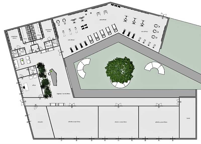A imagem mostra a planta da situacao atual para reabertura das academias