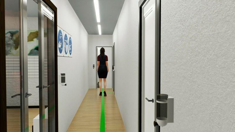 A imagem mostra um render de corredor de pousada adaptada pos covid 19 realizado com Edificius