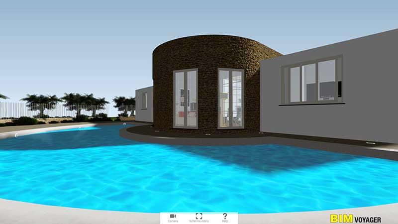 A imagem mostra o modelo da piscina de uma residencia unifamiliar para o tour virtual de casas em apresentacoes a distancia