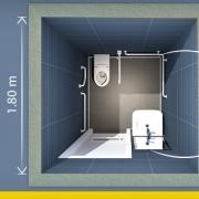 A imagem mostra uma planimetria de banheiro para deficiente realizada com Edificius