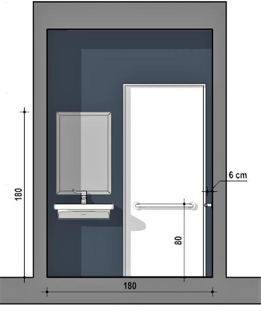 A imagem mostra um corte de banheiro para cadeirante com medidas minimas realizado com Edificius
