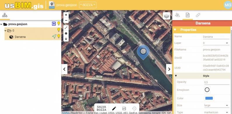 A imagem mostra o editor das propriedades dos objetos dentro da plataforma colaborativa usBIM.gis