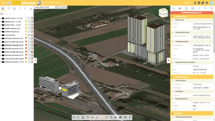 A imagem mostra a interface do usBIM.browser, um dos softwares BIM da ACCA software