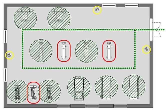 A imagem mostra o esquema planimetrico para a adaptacao de uma sala de musculacao