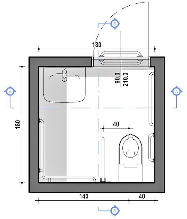 A imagem mostra uma planta de banheiro acessível com medidas minimas realizada com Edificius