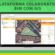 A imagem mostra a plataforma colaborativa usBIM.plaftorm com sistemas de GIS