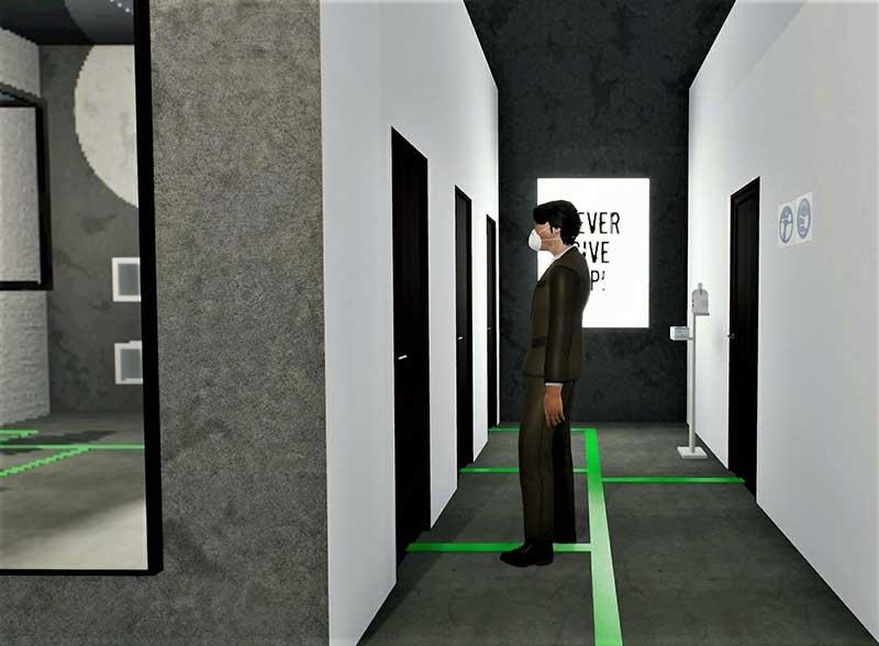 A imagem mostra um render da area dos vestiários de uma loja de roupa realizado com Edificius