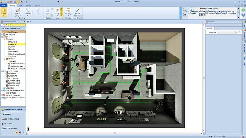 A imagem mostra a interface de Edificius, o software ACCA para projeto arquitetonico