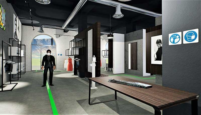 A imagem mostra um render da area de exposicao e vendas de uma loja de roupa realizado com Edificius