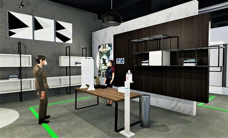 A imagem mostra um render da area da caixa de uma loja de roupa realizado com Edificius