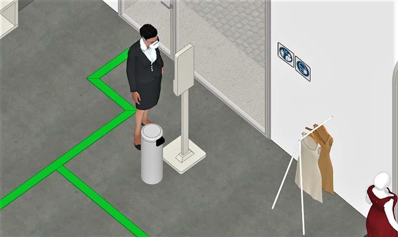 A imagem mostra um render da entrada de uma loja de roupa realizado com Edificius
