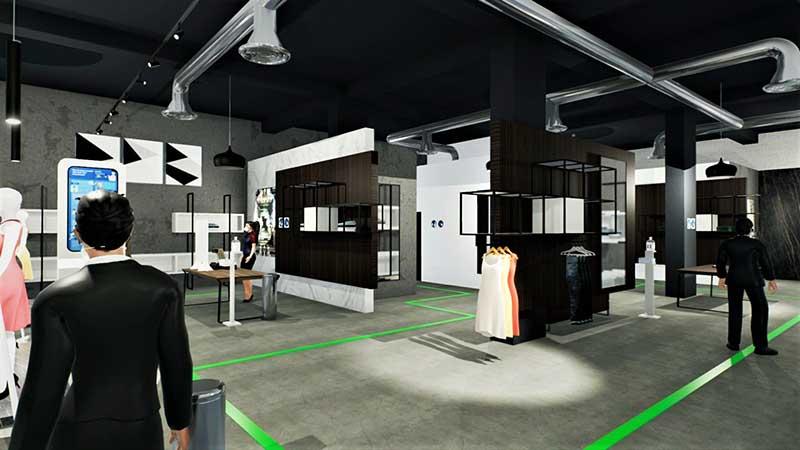 A imagem mostra um render dos interiores de uma loja de roupa realizado com Edificius