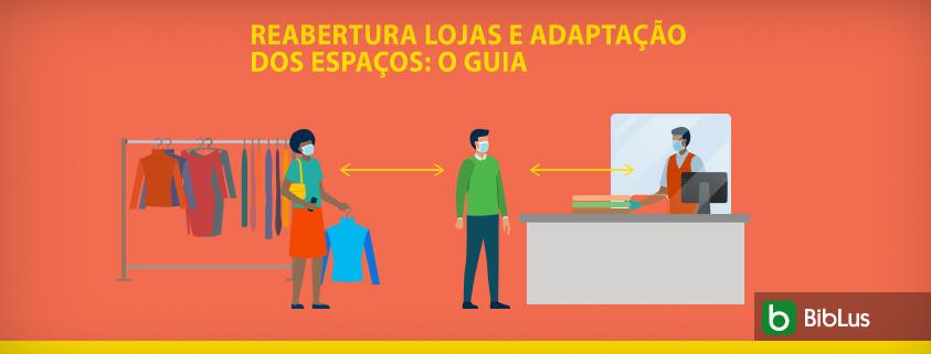 A imagem mostra pessoas em uma loja de roupa usando os EPIs contra o COVID-19