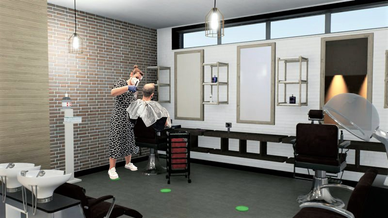 A imagem mostra um render da area de lavagem em um salao de cabeleireiros pos covid 19 realizado com Edificius