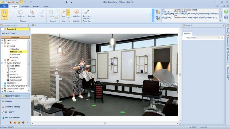 A imagem mostra um Render referente a reabertura de cabeleireiros e esteticistas pos COVID 19 realizado com Edificius