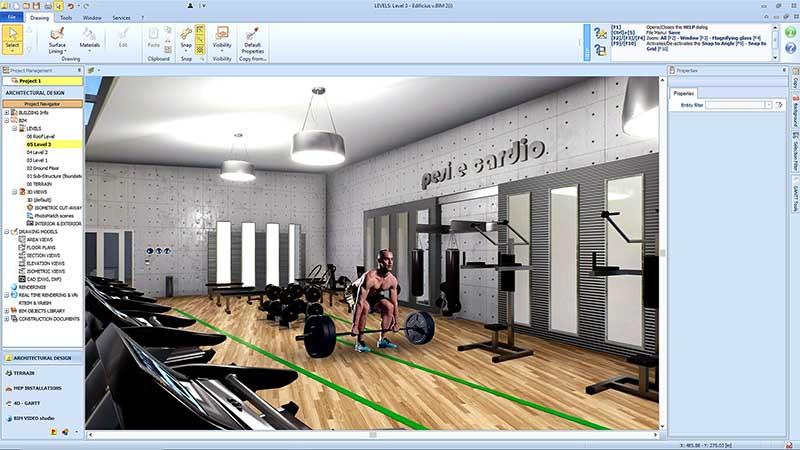 A imagem mostra a sala de musculacao de uma academia dentro do programa Edificius