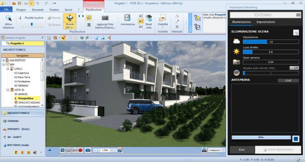 A imagem ilustra as definicoes e configuracoes para criar um render no Edificius