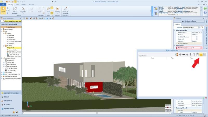 A imagem mostra como importar propriedades de objetos BIM de um arquivo Excel no Edificius