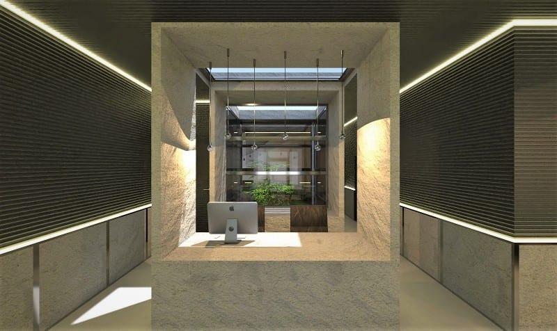 A imagem mostra o render de uma clinica odontologica realizado com o Edificius mostrando o banco de recepcao
