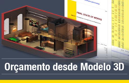 A imagem mostra como realizar o orçamento desde o modelo 3D utilizando um software BIM