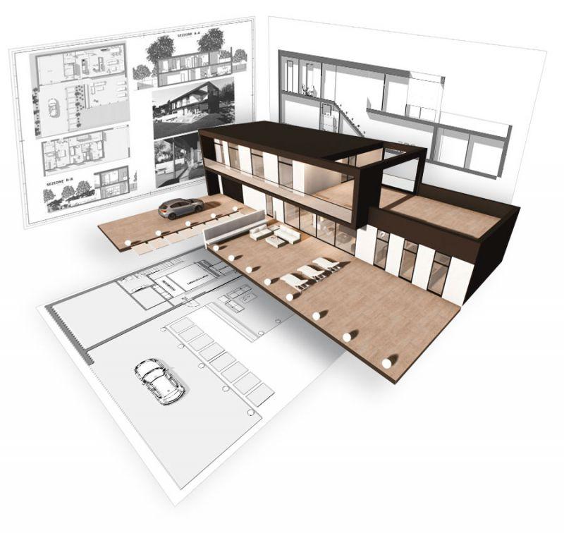 A imagem mostra as pranchas de arquitetura de um projeto arquitetonico realizadas com o software BIM Edificius