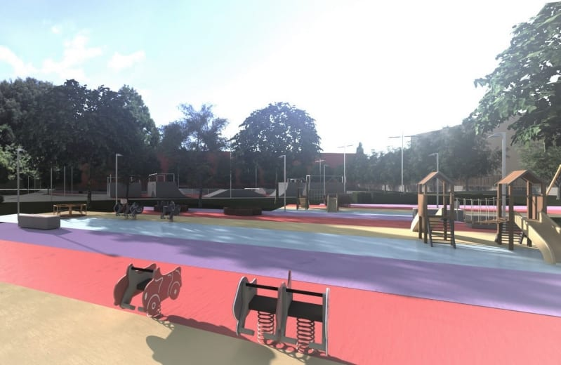 A imagem e um render de um parque urbano. Ela mostra varios jogos pra criancas.